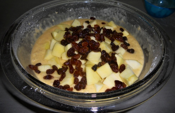 Add apples and raisins
