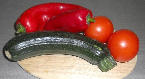 Courgette Tomatoes and Peppers