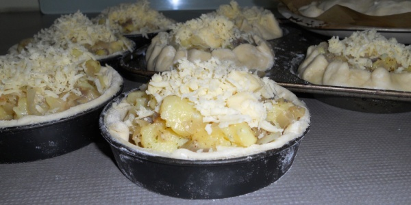 Pastry Filled with Cheese Onions and Potatoes