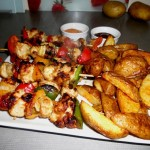 Chicken Kebabs and Wedges