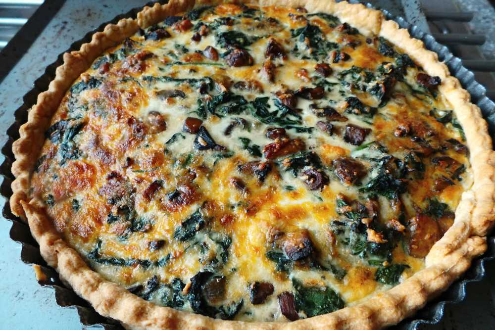 mushroom, spinach, quiche, tart, pastry,