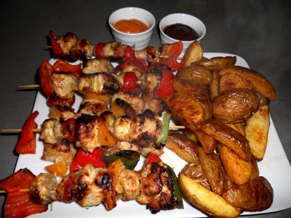 Spicy Chicken Kebabs and Wedges